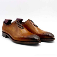 Men Dress shoe Oxfords shoe Custom Handmade shoe color brown square toe genuine calf leather hot sale OX-01