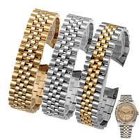 BDAB BDATS 13 мм 17 мм 20 мм Высокое Качество Серебряные Золотые Часы Группа Нержавеющая Сталь + Матовый Изогнутый Конец Ремень Браслеты для Rolex DateJust
