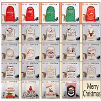 Sacs-cadeaux de Noël Grand sac de toile biologique avec sac de cordon de cordon Santa San avec des sacs de sacs Santa Claus pour enfants 50 * 70cm