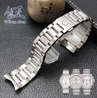 Watchband الرجال 22MM الفولاذ المقاوم للصدأ الشق الصلب المصقول حزام حزام الأساور TAG HEUER CARRERA