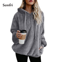 Semfri Woman Winter Jacket Female Coat Fluffy Hoodie Sweatshirt Half-zipper Oversized Front Hooded Draped Pockets Coat 5XL Plus