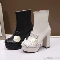 Klasik inek derisi kısa çizmeler yüksek topuklu bayanlar moda kalın topuklu siyah çizmeler süper yüksek topuk çizmeler metal toka deri kadın ayakkabı 35-40