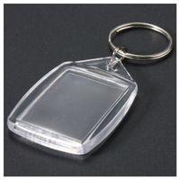50 Stück durchsichtigen Acrylplastik Blank Keyrings Insert-Pass Foto-Schlüsselanhänger Keyfobs Keychian Schlüsselanhänger Ring