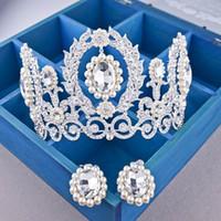 الباروك 2019 الفاخرة الملكة الزفاف التيجان القرط مجموعة الماس التيجان الأميرة تاج الزفاف التيجان غطاء الرأس حزب مجوهرات