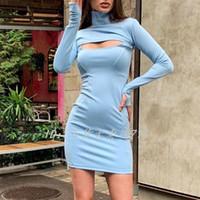 avrupa moda kadın göğüs içi boş dışarı seksi uzun kollu standı yaka elbise dişi BODYCON tunik kalem kısa elbise 2020 yeni tasarım