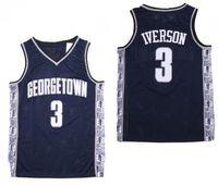 NCAA Mens Georgetown Hoyas Iverson College Jersey barato 3 Iverson University Basketball Jerseys Tamanho S-2XL Entrega Rápida