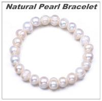 Натуральный жемчужный браслет 9 мм бусины Браслеты для женщин Юбилейные украшения подарок белый пресноводный жемчужный ювелирные изделия оптом