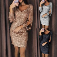 2018 Sequin Dress Long Sleeve Christmas Party Women Sexy Bod...