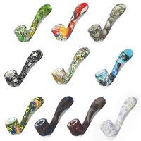 bagliore nel buio Tubi di silicone tubo di vetro per tubi da fumo a forma di 7 parole Colore Ultimate Tool Tubi di tabacco Ciotola nascosta con erba di erbe