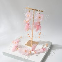 Korean Pink Butterfly Fairy bridal headdress is a white pink...