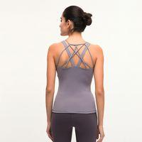 Frauen Ärmel Yoga Top LU-96 aushöhlen atmungsaktiv Fitness Sport Vest Gym Tank-Laufshirts mit Brustpolstern Workout T-Shirt