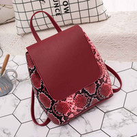 Backpack Fashion Leather Snake Pattern Ladies Backpack trave...