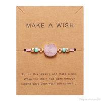 Machen Sie einen Wunsch Bunte Natürliche Stein Gewebt Papier Karte Armband Einstellbare Glücksrote String Seil Charme Armbänder Armreif Femme Modeschmuck