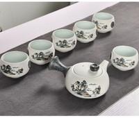 7pcs Sevimli İşlemeli Kuş Çay Seti Yaratıcı Kung Ku Çaydanlık Fincan Seti Japanese Style Kalın Çömlekçilik Teaware olarak Hediyeleri