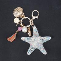 Starfish автомобилей брелки брелоки для девочек женщин сумка ювелирных аксессуаров кисточкой Раковины Перл Подвеска море животных Металлический брелок держатель