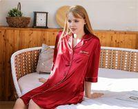 Для женщин выше колена Длина Sleepshirts Sexy Letter Печать Пижамы Sexy Половина рукава моды Turn Down Воротник Дамы Pijamas Solid Color