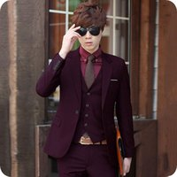 Burgundy Groom Tuxedos Latest Coat Pants Designs Mens Weddin...