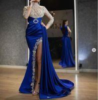 Royal Blue Muslin Indian Noite Vestidos 2020 Luxo Luxo Brilhante Rendas Lace High Neck Sexy Slit de Manga Longa Sereia Vestido de Prom com trem Lateral