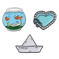 Fish Tank Sailboat Love Shape Swimming Pool Brooch Funny Bac...