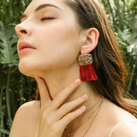 New Women Bohemian Statement Tassel Fringe Earrings Square D...