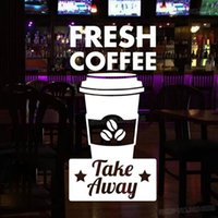 Fresh Coffee & Take Away Decals For Coffee Shop Sign Cup Res...