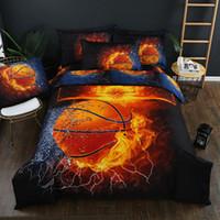 54 Баскетбол Pattern постельного белья 2/3 / 4шт Soft Family Set Sheet пододеяльник наволочки Плоский лист Подкладки удобная кровать