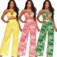 Мода Женщины Комбинезон Backless Холтер Rompers Bohemian клеш Мода Комбинезоны Лето Цельный Bodysuit Ночной клуб Romper одежды