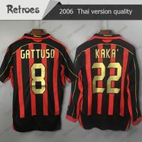 06 07 Retro 21 Pirlo Kaka Gilardino Inzaghi Retro Camiseta 2006 2007 Långärmad Shevchenko Maldini Ronaldinho Vintage