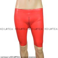 Sexy Calzoncillos de látex con cremallera frontal En ropa interior de fetichismo de goma de los calzoncillos cortocircuitos del muchacho Bondage pantalones encima de la rodilla más el tamaño DK-0013