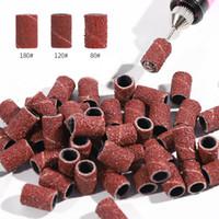 NAD002 100pcs Meulage cylindrique monté Têtes rondes à manches abrasives Bandes de ponçage pour morsures de manucure de manucure