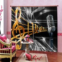 Decoración para el Hogar de lujo de la música Cortinas de impresión creativa de cortina para la sala de estar dormitorio oscuras cortinas de ventana