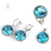 Shunxunze explosión modelos punk boda joyería conjuntos (anillo/pendiente/colgante) para las mujeres azul cubic zirconia rodio plateado r748set tamaño 6-12