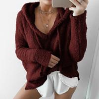 Venda Hot Mulheres Hoodies Menina do inverno solto Hoodie com capuz casaco quente casaco Casacos camisola bonito com capuz Sudaderas Mujer