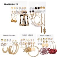FROZENSHEEP 6pcs set Bohemian pearl metal dangle Earrings se...