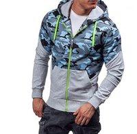 بلوزات الخريف ملابس الربيع الرجال المرقعة التمويه مصمم هوديس Camoi زيبر مقنع عارضة