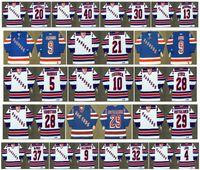 빈티지 뉴욕 레인저스 유니폼 30 CHRIS NILAN 29 REIJO RUOTSALAINEN 20 LUC ROBITAILLE 40 MARK PAVELICH 13 Sergei Nemchinov Retro Hockey