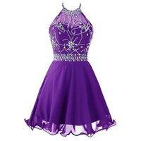 Crystal Crystal Chiffon Домашние платья с Halter Deckline Короткие выпускные платья Платье без спинки Платье для партии Лаванда Royal Blue Navy H011