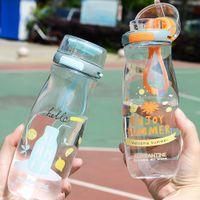 500ML زجاجات المياه البلاستيكية الصيفية الإبداعية شخصية الاتجاه الطلاب بسيط البهلوان drinkware لسفر العمل FY4136