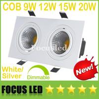Quadratisch dimmbare 2 * (9W 12W 15W 20W) COB-LED Downlights 18W 24W 30W 40W Weiß / Silber Neigbare Leuchte Einbau Deckeneinbauleuchte Lampen CE