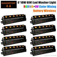 New Designed 8XLOT 6*18W RGBWA UV 6IN1 Wireless Battery Led Washer Light DMX 6 10CH Black Casting Stage Washer Light 90V-240V TIPTOP