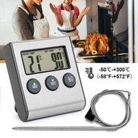10 adet LCD Dijital Elektronik Et Termometre Barbekü Pişirme Fırın Gıda BARBEKÜ Izgara Sıcaklık Probu Zamanlayıcı Pişirme ile