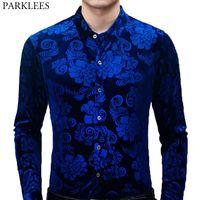Royal Blue Velvet Velour Shirt Männer 2020 Frühlings-neue Slim Fit Langarm-Herren-Blumenkleid Hemden Freizeit Button Down Chemise 2XL