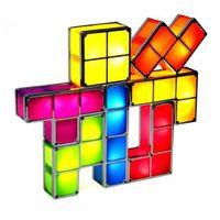 Regalo de Navidad de luz [DBF] bricolaje Tetris Puzzle noche de la novedad LED de luz LED apilable tabla del escritorio de la lámpara Urbanizable Bloque de niños de juguete
