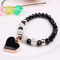ZOSHI romantique Vintage Bracelets Pour Femmes Coeur Pendentif Bracelets avec Cristal Shambhala Perles Fit Pan Bracelets Bijoux