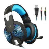 Cada G1000 Gaming Headphone Profissional PS4 XBOX Um Fone de Ouvido com Mic Estéreo Baixo Respiração LEVOU Luz PC Tablet 8 pçs / lote