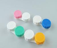 케이스 Epacket 무료 배송 젖어 인기있는 저렴한 컬러 콘택트 렌즈 케이스 아름다운 다채로운 이중 상자를 두 번 케이스 렌즈
