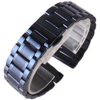 Watchband marka Bilek mens için klasik tarzda aksesuarları 20mm 22m mavi paslanmaz çelik izlemek kordonlu saat kayışı bileklik kelebek toka toka