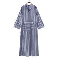 Sommer-Herbst Kleid-Weinlese-Frauen-lange gestreiftes Kleid-beiläufiger V-Ausschnitt Langarm-lose lange Maxikleid Vestidos Plus Size