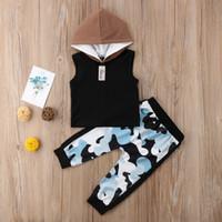 2pcs nouveau-né tout-petits enfants bébé BoyTops à capuche Camo Gilet + Pantalon Floral Tenues Vêtements Set 0-24M