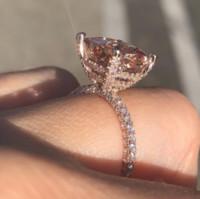 Choucong الكلاسيكية الأزياء والمجوهرات 925 الاسترليني silverroose الذهب ملء توباز تشيكوسلوفاكيا الماس النساء حفل زفاف خطوبة باند البنصر هدية